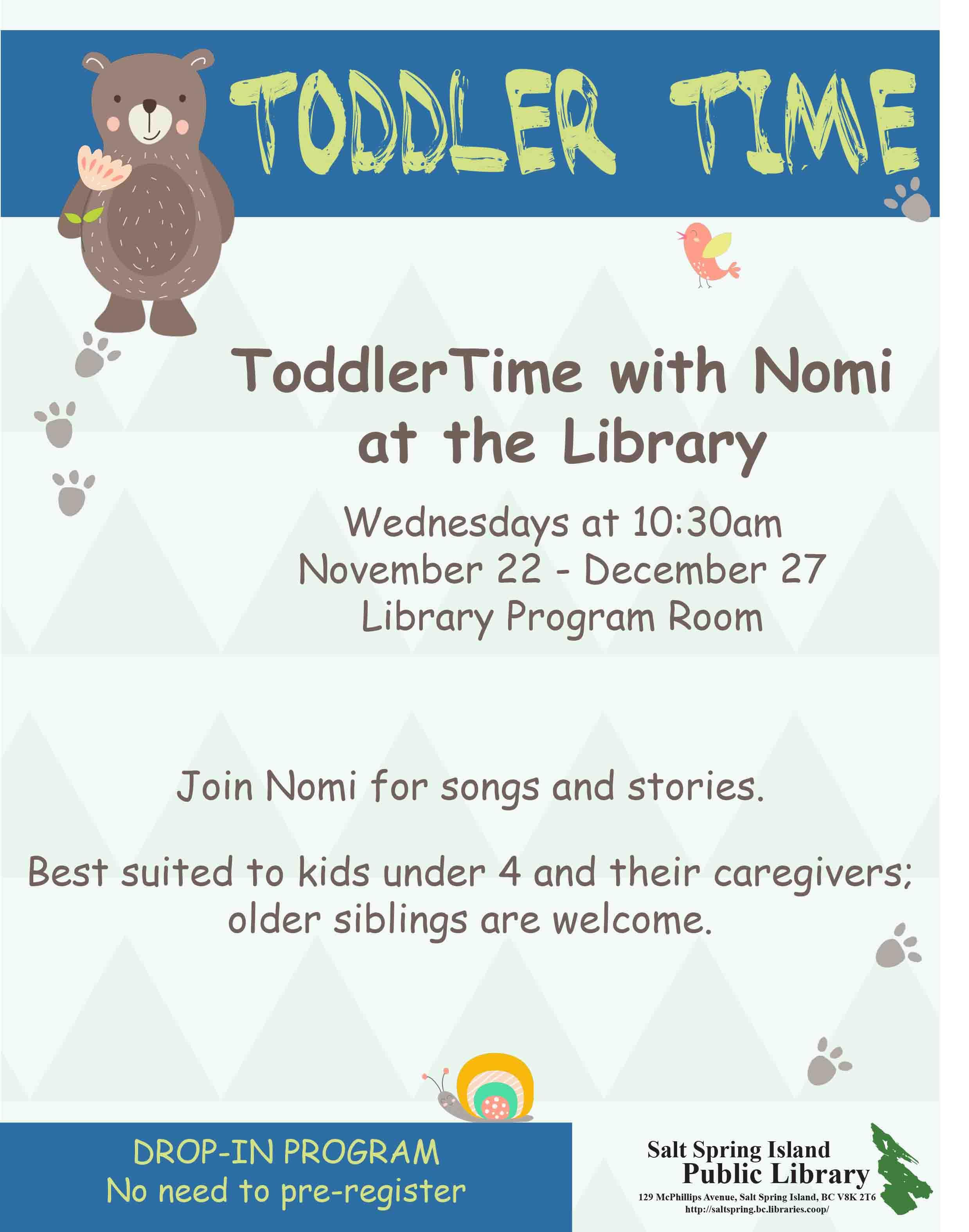 ToddlerTime Notice- Nov-Dec 2017