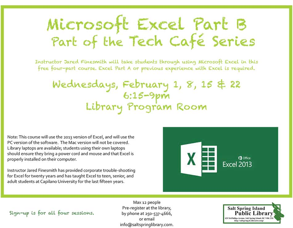 Tech Cafe: MS Excel Part B @ Library Program Room