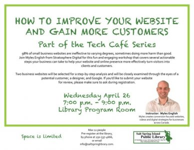 Tech Cafe | How To Improve Your Website And Gain More Customers @ Salt Spring Island Public Library