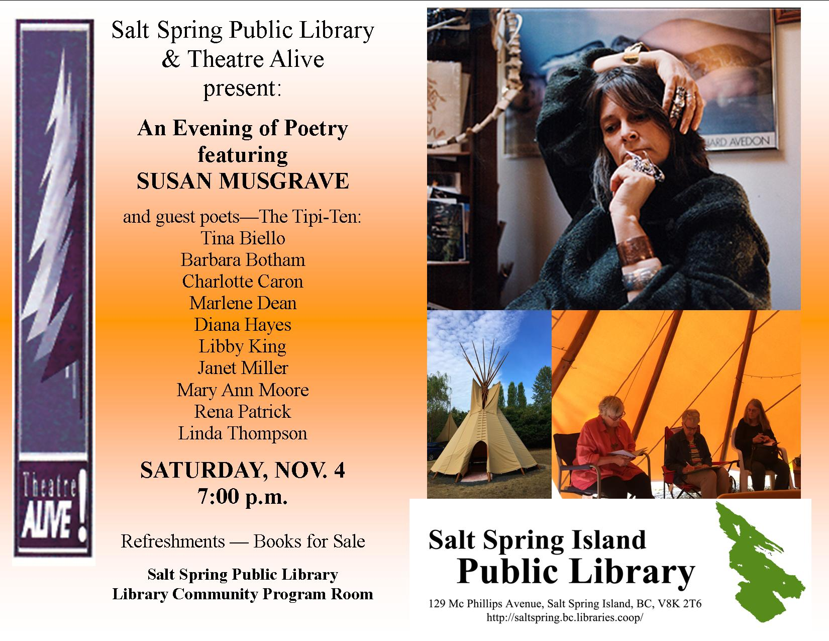 Susan Musgrave and Tipi Ten Reading SS Library Nov 4 2017