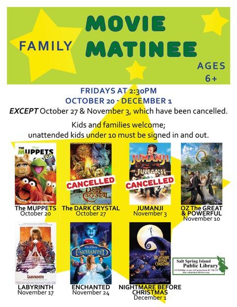 Family Movie Matinee @ Library Program Room