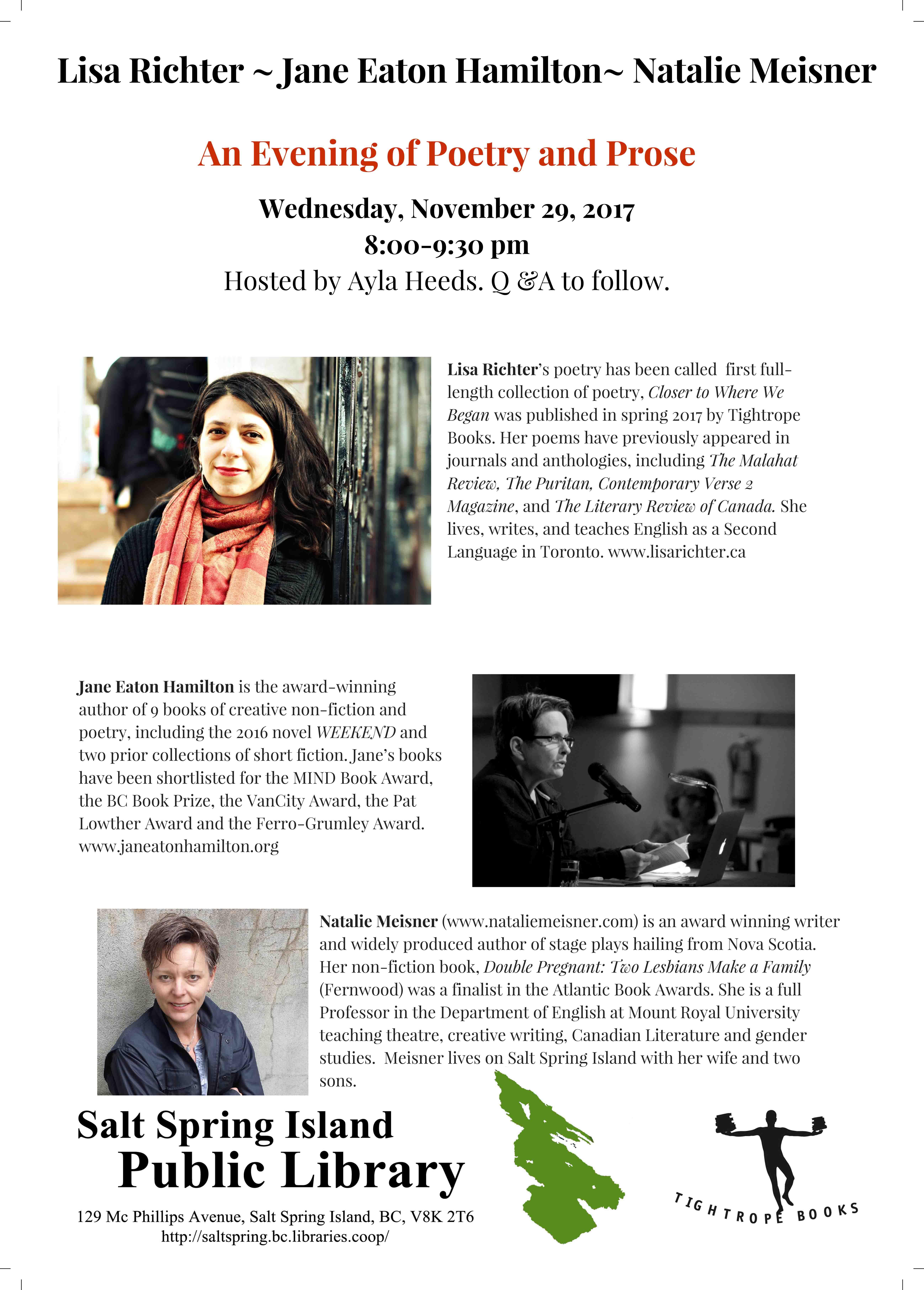 An Evening of Poetry and Prose @ Library Program Room