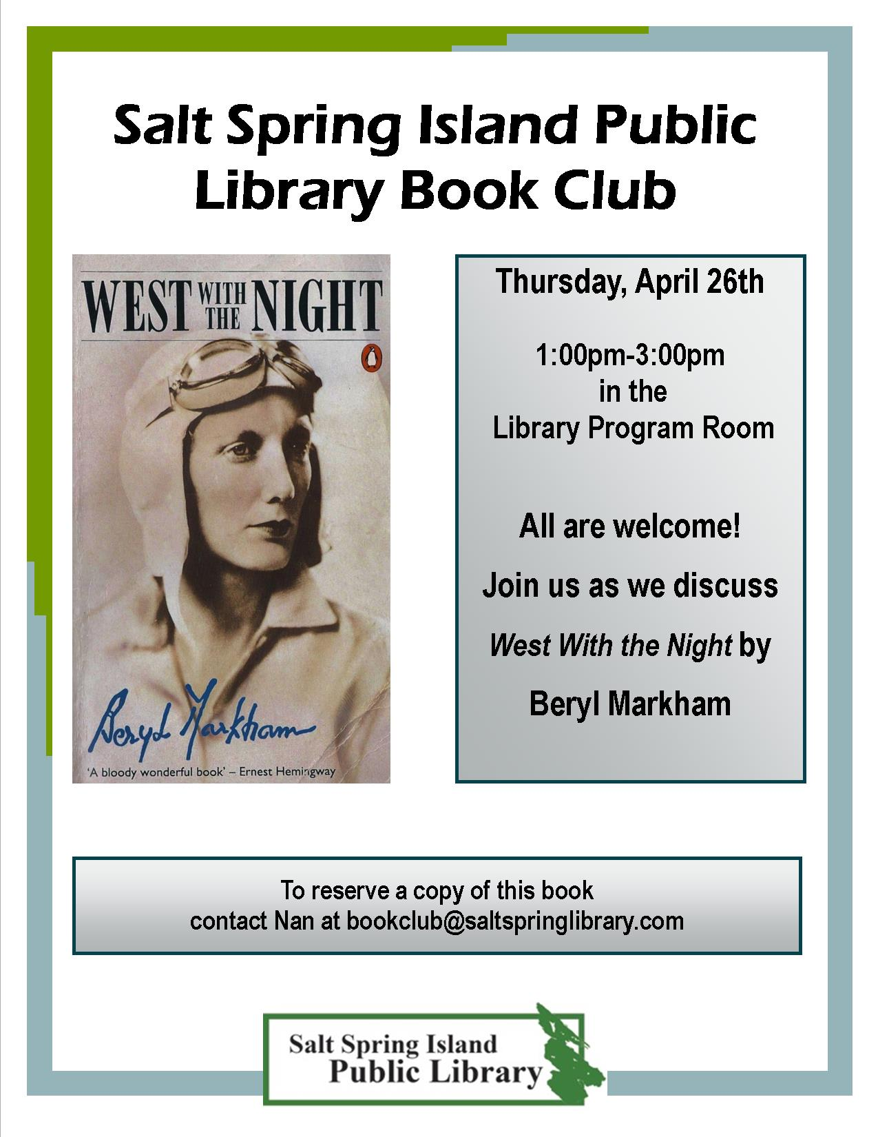 Library Book Club Poster April 2018