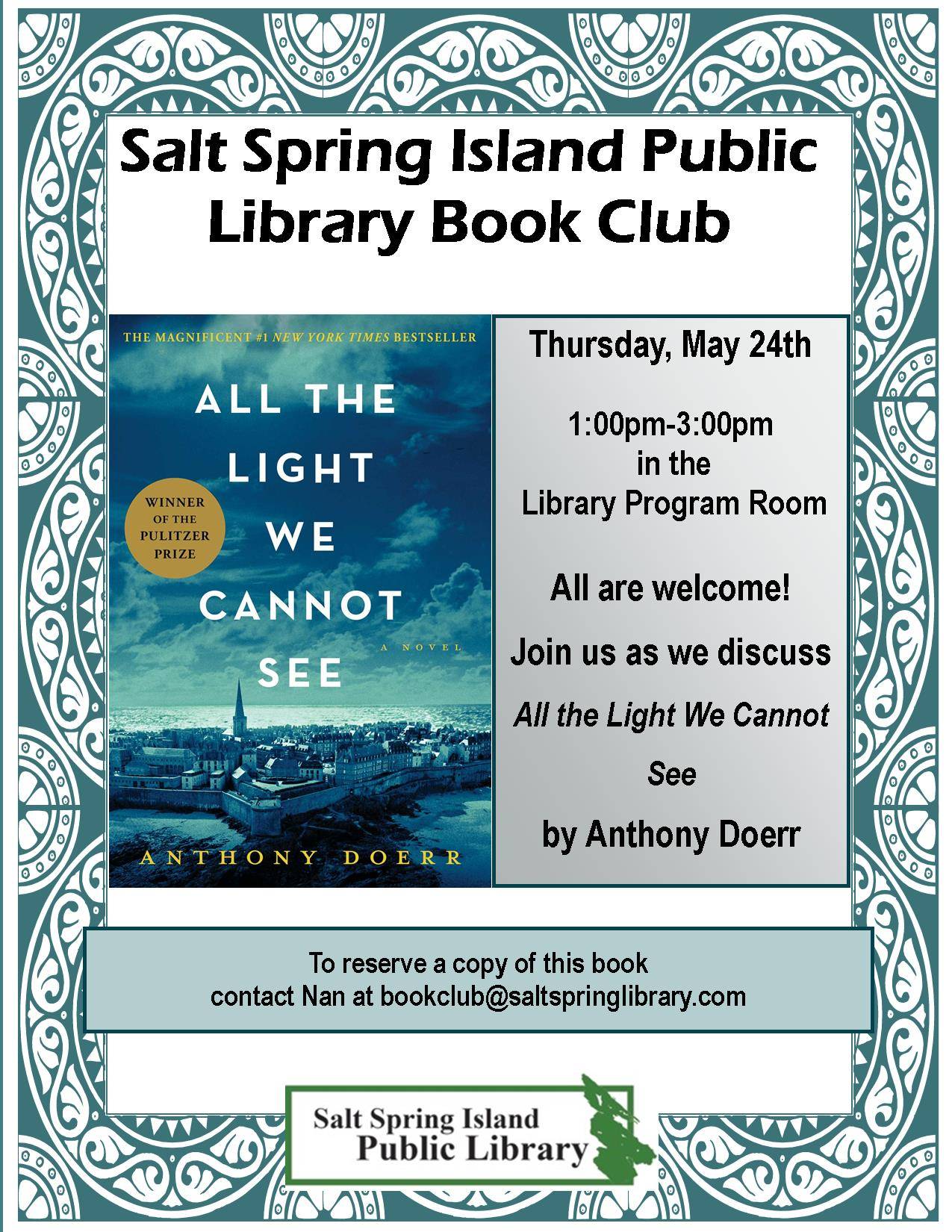 Library Book Club Poster May 2018