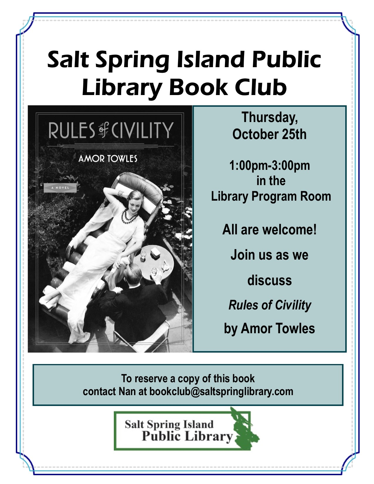 Library Book Club Poster October 2018