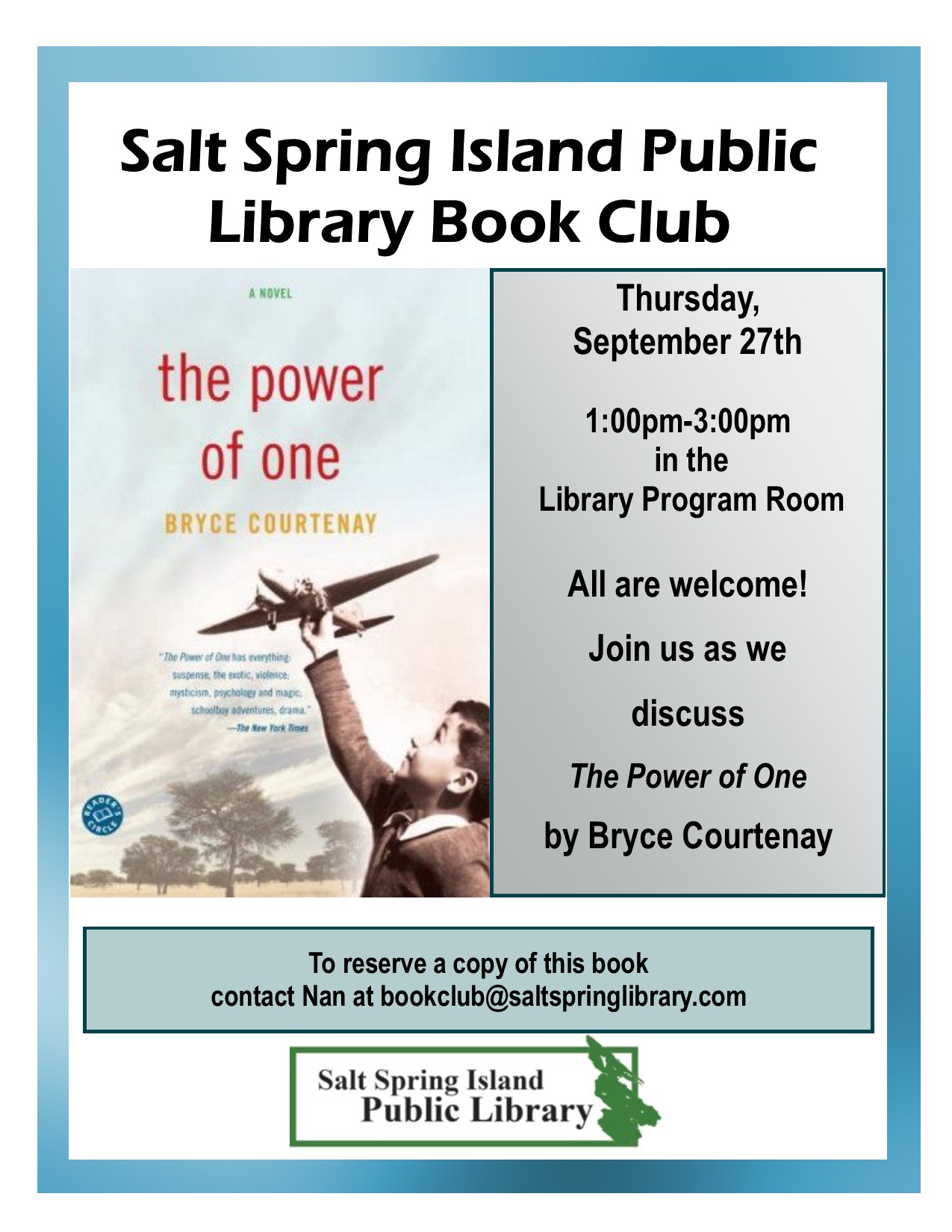 Library Book Club Poster September 2018