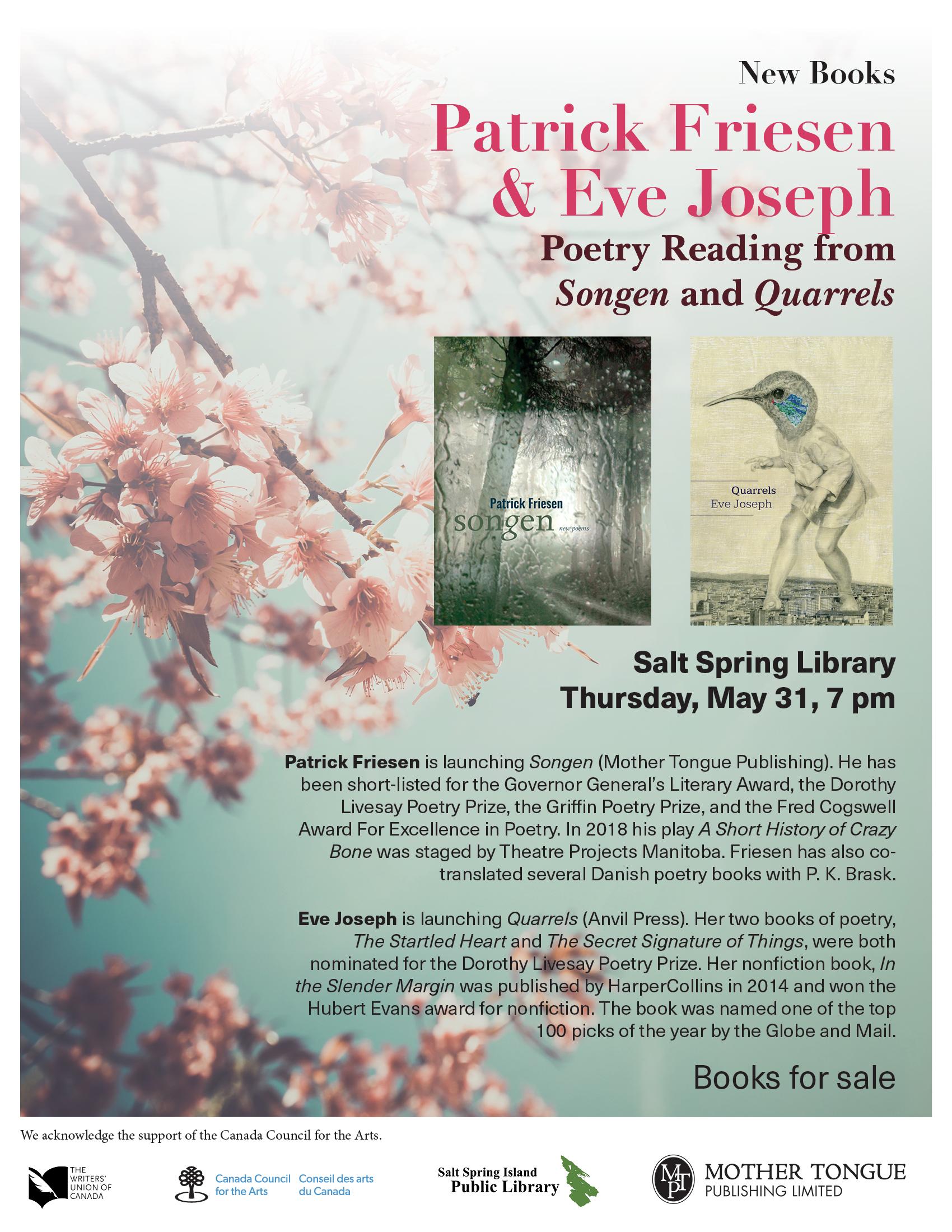 Patrick Friesen & Eve Joseph poetry reading