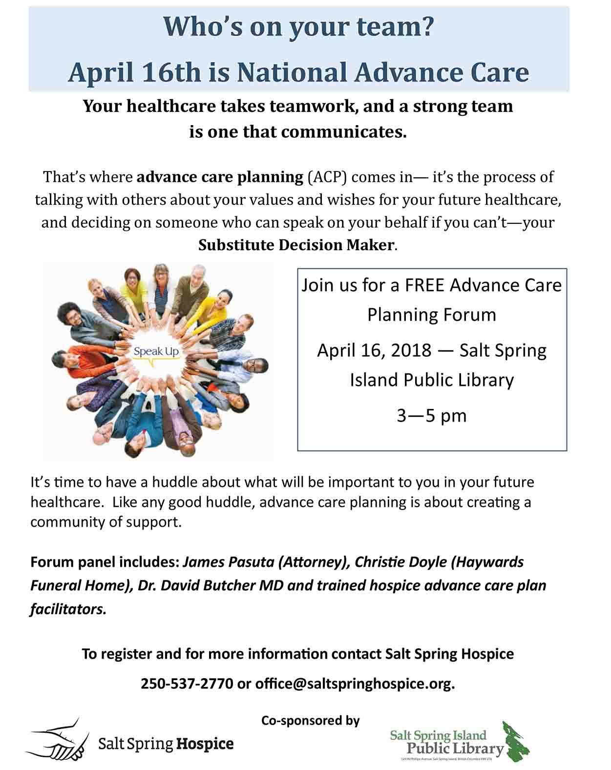 Advance Care Planning Forum @ Community Program Room