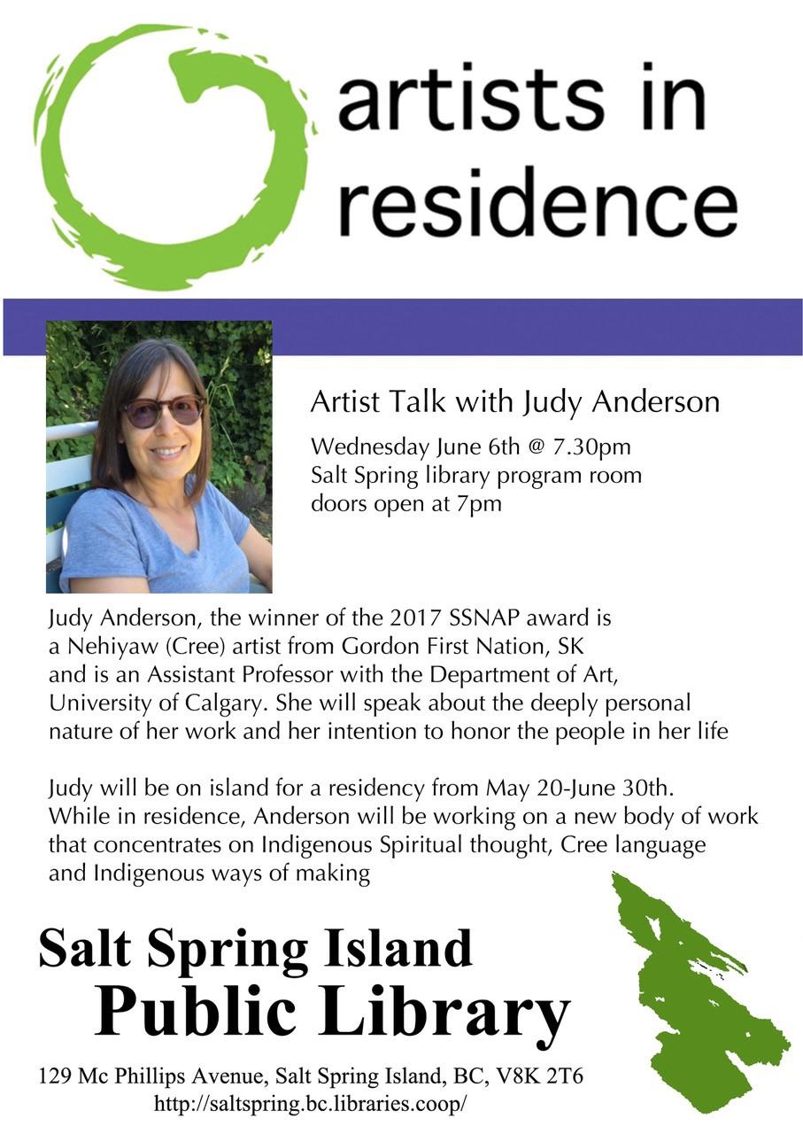 Artist Talk with Judy Anderson @ Community Program Room