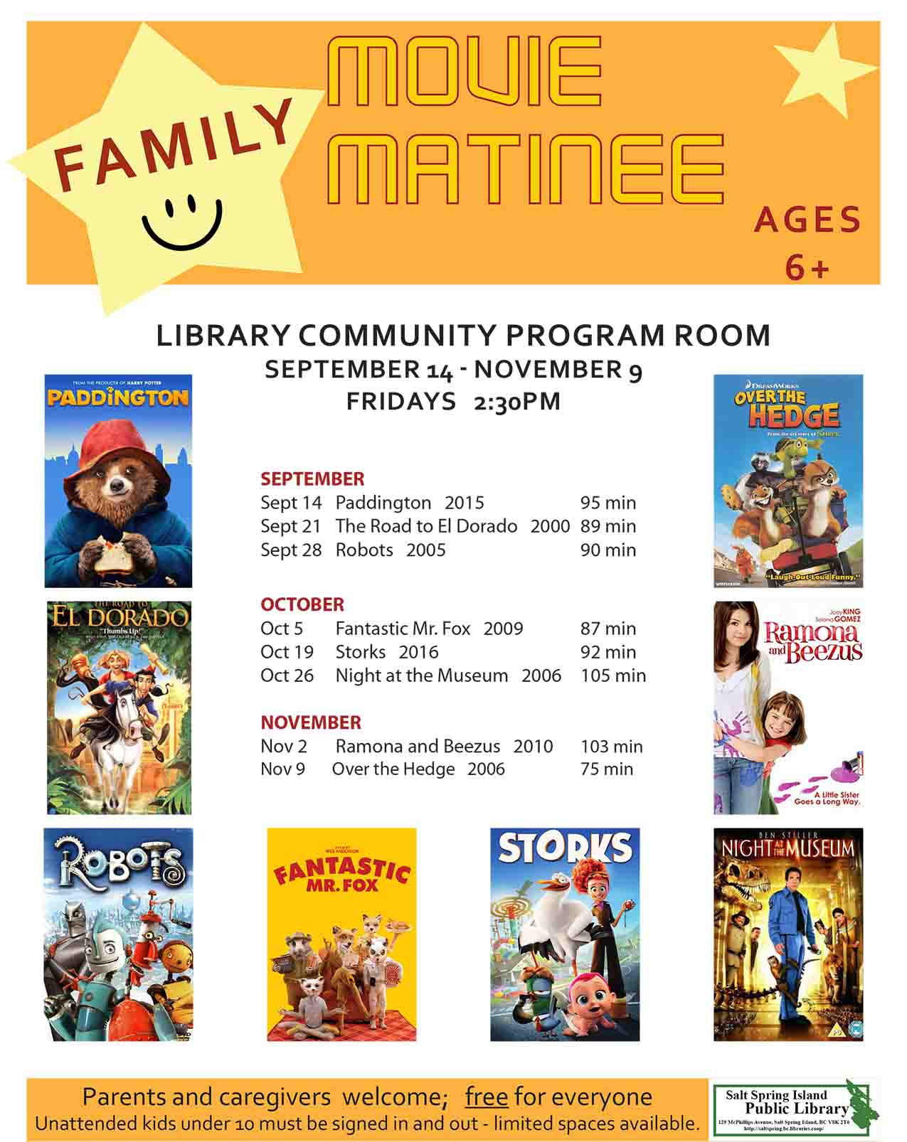 Family Movie Matinee @ Community Program Room