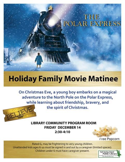 Holiday Family Movie Matinee @ Community Program Room