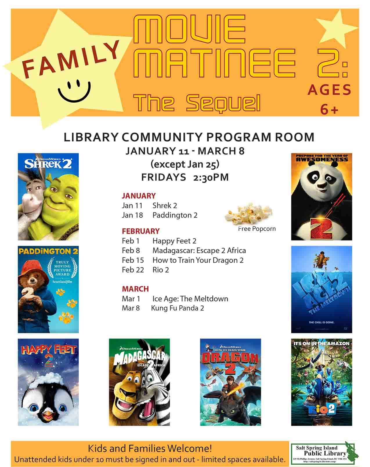 Family Movie Matinee 2: The Sequel @ Community Program Room