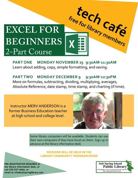 Tech Café: Excel Part 1 @ Community Program Room