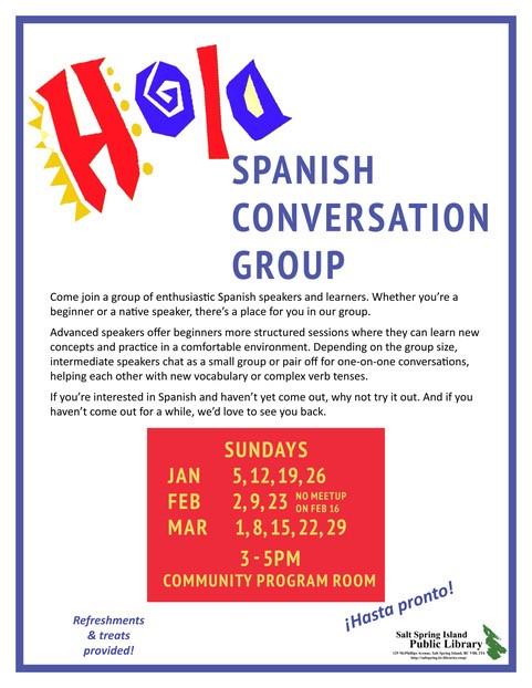 Spanish Conversation Group @ Community Program Room